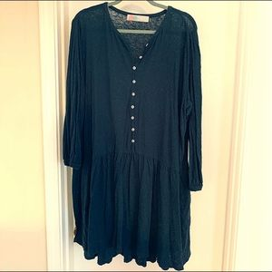Free People Dropwaist Linen Blend Dress Navy L
